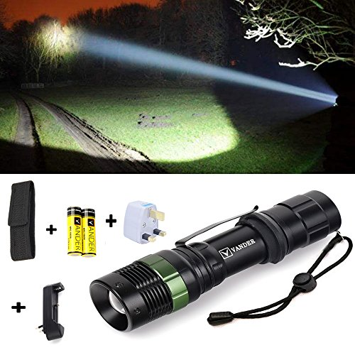 LED Taschenlampe,VANDER 5000 Extrem Hell - CREE XM-L T6, Zoombar, Einstellbarer Fokus, Batterie oder Akku Schwarz