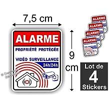 Sticker / Autocollant Alarme Vidéo Surveillance ( Lot de 4 stickers ) Alm New