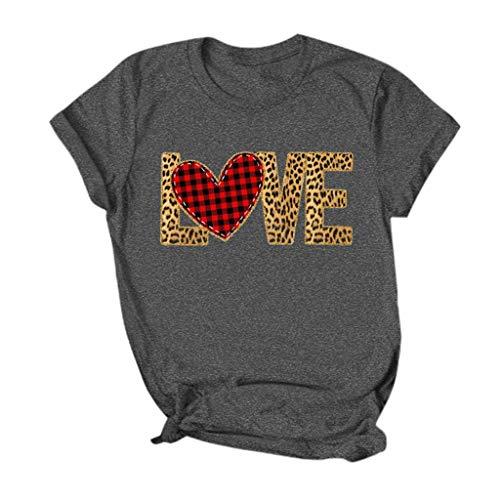 serliyDamen Valentine's Day Tee Mode Herz Print Tops Festliches Kurzarm T-Shirt Party Shirts Frauen Streetwear Bluse Oberteile Gotik Top Nachtclub Partykleidung