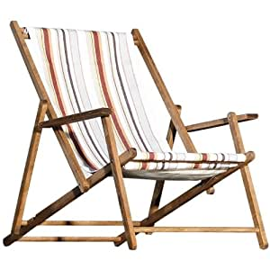 jan kurtz teak deckchair streifen toskana strandstuhl holz. Black Bedroom Furniture Sets. Home Design Ideas
