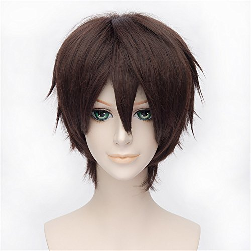 LanTing Hakuouki Okita Souji Dark Brown Short Styled Woman Cosplay Party Fashion Anime (Cosplay Souji Kostüm Okita)