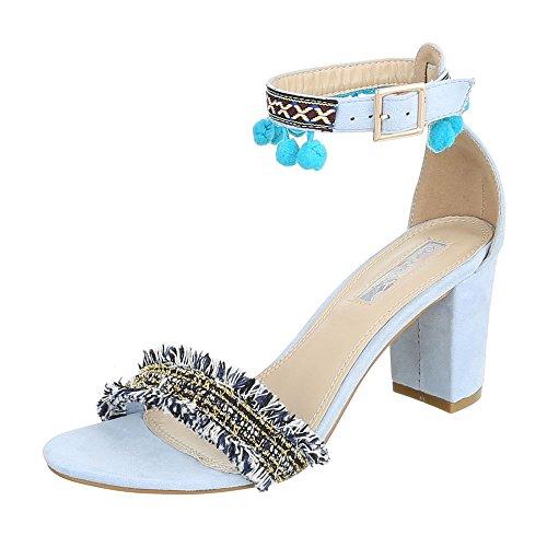 Ital-Design High Heel Sandaletten Damenschuhe Plateau Blockabsatz Perforierte Schnalle Sandalen/Sandaletten