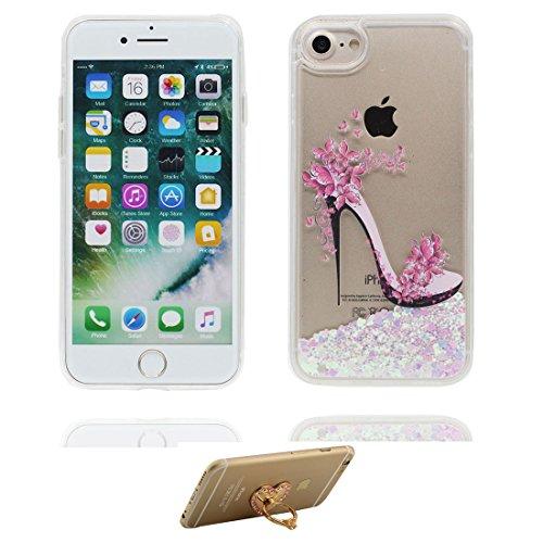 """iPhone 7 Hülle, Skin harte freie Handyhülle iPhone 7, fee Glitter Bling Transparent Hard Clear funkelt Shinny fließend, Apple iPhone 7 Case Cover 4.7"""", Schock-bestän und Ring Ständer # 2"""