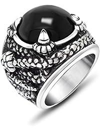 De acero inoxidable de los hombres de titanio JewSteel garra envejecido Zircon Piedra anillo grande color negro