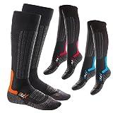 3 Paar CFLEX HIGH PERFORMANCE Ski- und Snowboard Socken im 3-Farb-Pack-35-38