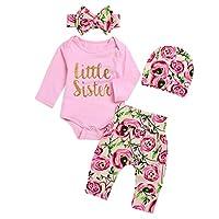 Borlai 4Pcs Baby Girl Little Sister Rose Flower Outfits Romper+Pants+Headband+Beanie (6-12M, Pink)