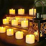 Benvo LED flammenlose Kerzen, 3.8cm elektrische flackernde batteriebetriebene teelichter, LED votivkerzen warme weiße, 12 Pack - 5