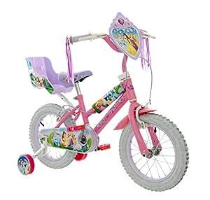 DisneyPrincess Girls' Kids Bike Pink, steel frame, 1 speed front and rear calliper brakes removable stabilisers