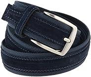 La Bottega del Calzolaio Cintura tela e camoscio uomo blu 4 cm in vera pelle artigianale made in Italy