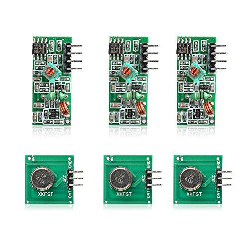Aukru 3 x 433 MHz Empfänger und Funk- Sende Modul Superregeneration Wireless Transmitter-Modul Empfängermodul Einbrecher Alarm 433M receiver module Burglar Alarm für Arduino Raspberry pi