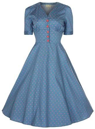 Lindy Bop 'Ionia' 1950's Robe, Rockabilly Pinup Shirt Dress (38, Bleu Mer)