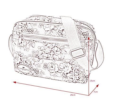 FEOYA – Sac d'épaule Unisexe Sac de message Sac à Bandoulière en Nylon Sac de randonnée avec Multiples Poches Sportive Voyage Style Sacoche imprimé floral – Rose Rouge