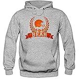 Bear #6 Hoodie |Herren | Super Bowl | Play Offs | Football Hoodies | USA | Kapuzenpullover, Farbe:Graumeliert (Greymelange F421);Größe:L