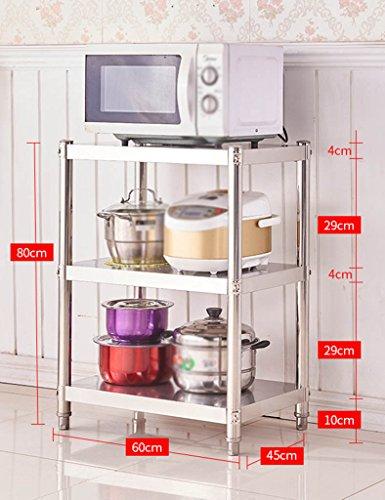 HWF Etagères de cuisine Étagère de cuisine 3 couches four à micro-ondes étagères étagères de rangement en acier inox salle de bain hôtel (taille : 80 * 60 * 45cm)