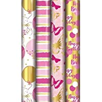 The Big Card Company 4 x Female Wrapping Paper 1.5m Metallic foil design