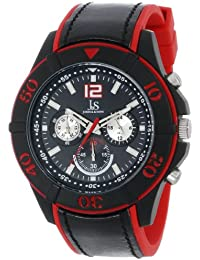 Joshua & Sons Reloj red-and-black Cronógrafo para hombre con correa de dos tonos
