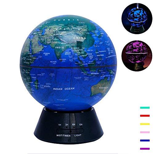 Globe-diffusor (Diffusor FüR äTherische ÖLe, 300 Ml Ultraschall-Luftbefeuchter-Aromadiffusor, 7 Led-Farbwechselleuchten, Wasserfreies Automatisches SchließEn, Home-Globe-Dekoration)