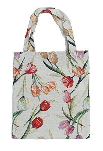 Bowatex Sac cabas sacs plastique Sac Shopper Bag Tapisserie royaltex Signare Motif tulipes 22 x 26 x 0,5 cm FA