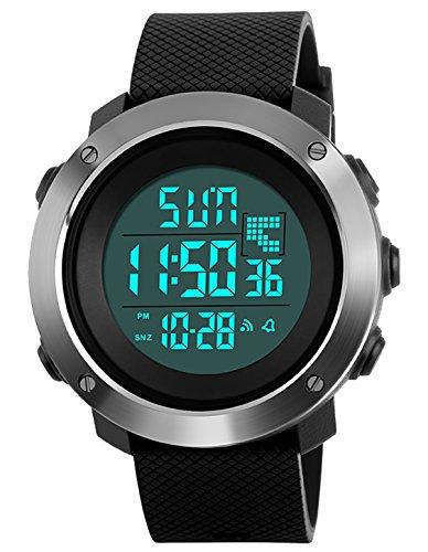 Relojes Deportivo Digital Para Hombres Adolescentes y Niño Multifunción 50m Impermeable Cuenta Regresiva Dial Grande Militar LED Casual Reloj de Digital con Cronómetro Para Hombre Negro