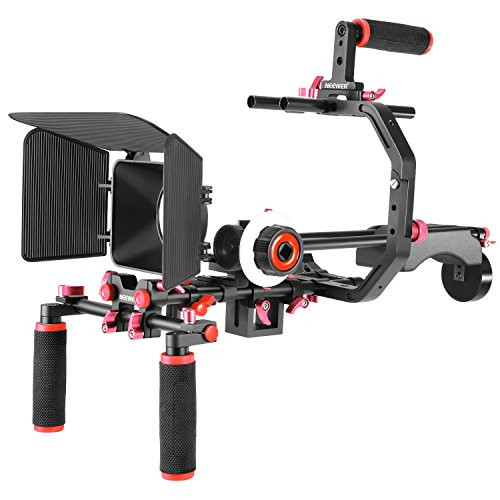 Neewer Video Herstellungssystem für Canon Nikon Sony und andere DSLR Kameras Video Camcorder: C-förmige Halterung Hand Griff Stange Matte Box Folgefokus Schulter Rig(rot+schwarz) Matte Box Kit