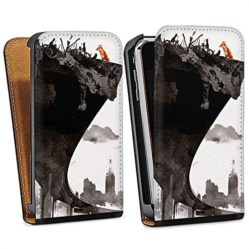 Apple iPhone 5 Housse étui coque protection Horizon Ville Art Sac Downflip noir