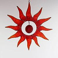Fenster Deko zum Aufhängen Sonne rot-gelb | Deko Sonne aus Resin | Handgemacht | Sonnenfänger | Fensterdeko Sonne