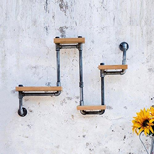 ZHEN GUO Schwarze industrielle Wand-Dekoration, 4 Tier-Retro- rustikale Eisen-Rohr-Regale an der Wand befestigt, W/feste Kiefernholz-Platte, Hauptspeicher-Möbel/Präsentationsständer