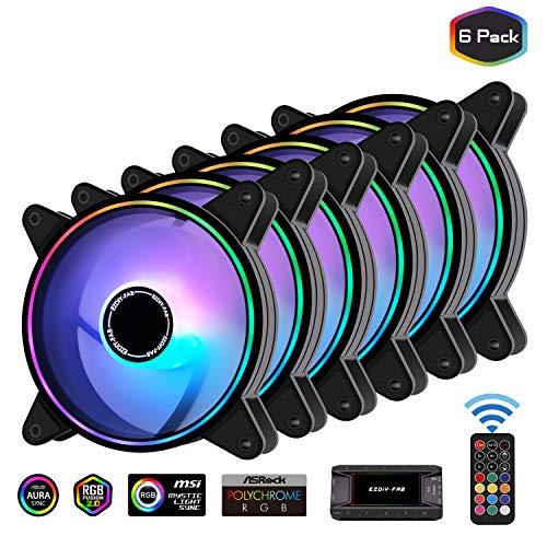EZDIY-FAB Moonlight RGB Gehäuselüfter 120mm mit 10-Port Lüfter Hub X und Fernbedienung, Motherboard Aura Sync, Geschwindigkeitsregelung, ARGB Computer lüfter für PC Gehäuse - 6 Pack