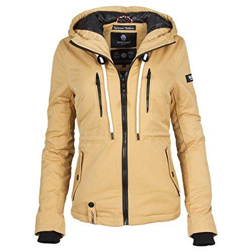 Marikoo Damen Steppjacke Parka Herbst Winter Jacke mit Kapuze gefüttert 10 Farben XS - XXL LIEBE MICH (Camel, M) (Fleece-parka Weiche)