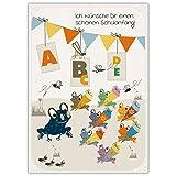 Super süße Einschulungskarte mit Frosch Klasse: Ich wünsche Dir einen schönen Schulanfang