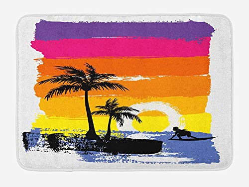 Bath Mat, Exotic Beach with Silhouette of Palm Trees and Surfer Ocean Heaven Image, Plush Bathroom Decor Mat with Non Slip Backing, 23.6 W X 15.7 W Inches, Multicolor ()
