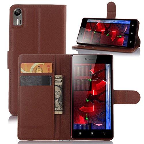 Tasche für Lenovo Vibe Shot Z90-7 Hülle, Ycloud PU Ledertasche Flip Cover Wallet Case Handyhülle mit Stand Function Credit Card Slots Bookstyle Purse Design braun