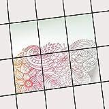 creatisto Fliesen-Aufkleber Folie Sticker Selbstklebend | Fliesentattoo Dekosticker Küche renovieren Bad Küchen Ideen | 15x20 cm Design Motiv Floral Doodle - 6 Stück
