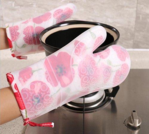 gymnljy rutschsicheren anti-hot Haarverdichtung Silica Gel Isolierung Handschuhe Küche Mikrowelle Handschuhe High Temperatur Plus Baumwolle Handschuhe 1