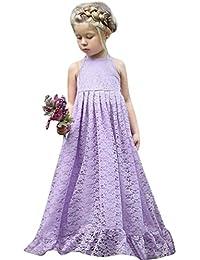 8c70576d97222 ADESHOP Mode Fille Robe Enfant Filles Dentelle Fleurs Backless Princess  Party Formelle Robe VêTements Filles Cou