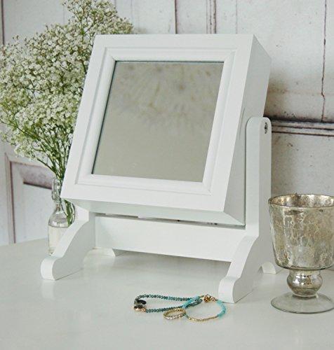 windschief-living Armadietto portagioie Svea Bianco con Specchio da Tavolo  in Stile Shabby Chic