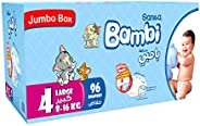 Sanita Bambi, Size 4, Large, 8-16 kg, Jumbo Box, 96 Diapers