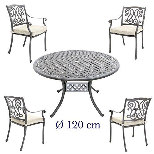 Aluguss Gartenmöbel Set, Gartenmöbelgarnitur bestehend aus Gartentisch Ø 120 cm mit 4...