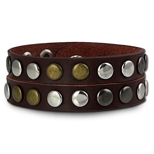 SilberDream Nieten-Lederarmband Wickeloptik rotbraun für Herren oder Damen Leder Armband Echtleder LAP088D -