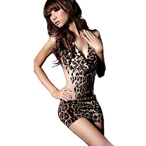 Awsays Meine Damen Sexy UnterwäSche Fashion Leopard Siamesisch Enge ZurüCk Nachtclub KostüM Tanzparty Cocktail Erotische Kleidung