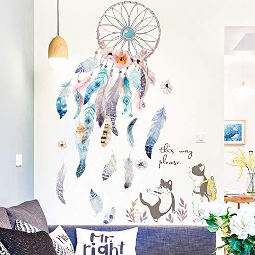 Etiqueta de la pared chica dormitorio arte pluma azul atrapasueños lindo gatito extraíble
