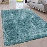 Paco Home Hochflor Wohnzimmer Teppich Waschbar Shaggy Uni In Versch. Größen u. Farben, Farbe:Türkis, Grösse:120x160 cm