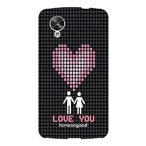 HomeSoGood The Lovely Pixel Heart Black For LG Nexus 5 (Back Cover)