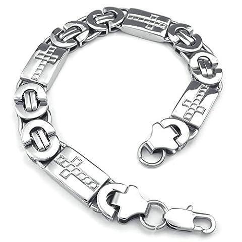 AMDXD Bijoux Acier Inoxydable Bracelets de Liaison pour Hommes Traverser Argent