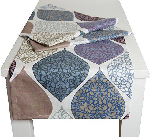 Momente Tischläufer ca. 40x150 cm in interessanter Größenauswahl hochwertig & angenehm 100% Baumwolle Farbe (Hortensie)
