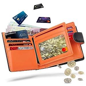 Portafogli Uomo RFID bloccante in pelle con cerniera portamonete e porta banconote e chiusura a bottoni e 17 porta carte… 7 spesavip