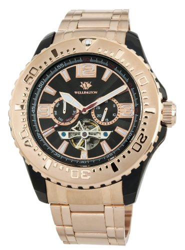 Wellington Cork Men's Automatic Watch with Black Dial Analogue Display and Rose Gold Stainless Steel Plated Bracelet WN301-628