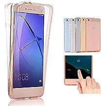 Huawei G8 / GX8 Funda, 2ndSpring 360 Grados Doble Delantera + Trasera De Gel Integral Silicona TPU Carcasa Case Cover para Huawei G8 / GX8,Rose Oro