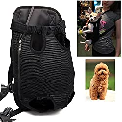Kismaple Mascota Bolso del portador del perro Mochila Piernas afuera Mochila de perro ajustable para mascotas para Caminar, Senderismo, Viajes, Bicicleta y Motocicleta (Negro, Small; Pecho(debajo 30cm))