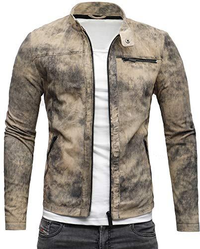 CRONE Epic Herren Lederjacke Cleane Leichte Basic Jacke aus weichem Wildleder (S, Vintage Beige)